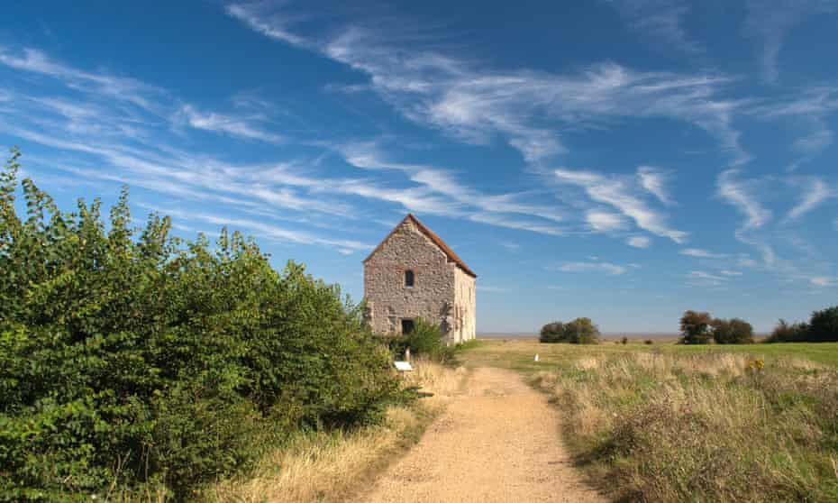 Road leading to St Peter's-on-the-Wall Chapel, Bradwell-on-Sea, Essex, England.