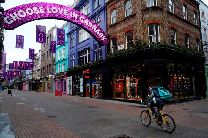 A near-deserted Carnaby Street, central London