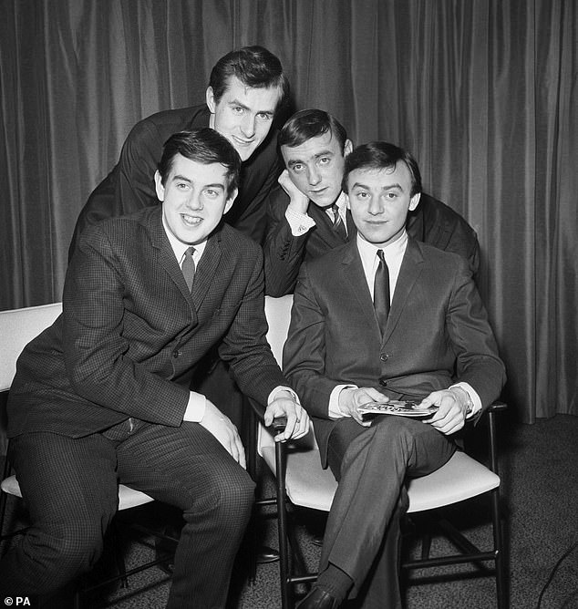 Pictured: Gerry And The Pacemakers in London in 1964. Les Maguire, Freddie Marsden, Gerry Marsden, and Les 'Chad' Chadwick are pictured