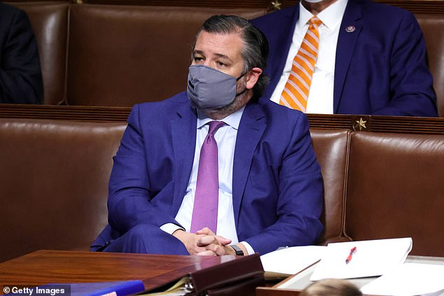 Voted down: Cruz was among eight Republican senators that objected to Joe Biden's victory in the November presidential election; Cruz seen in the House Chamber on January 6