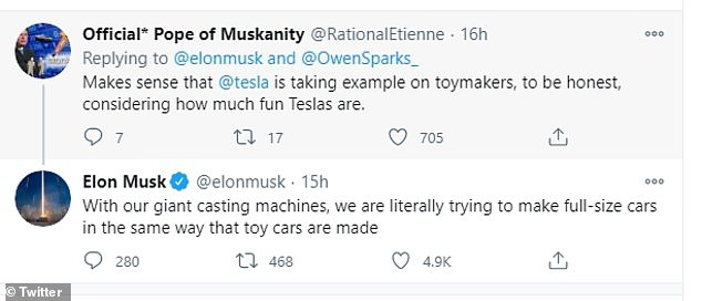 Elon Musk likened Tesla's battery production line to that used by toy makers and replied to a tweet saying with the machine the firm will 'make full-size cars in the same way'