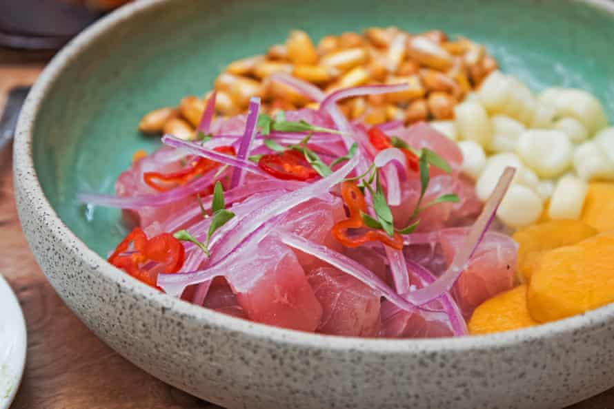Close-up shot of delicious traditional Peruvian ceviche in the restaurant