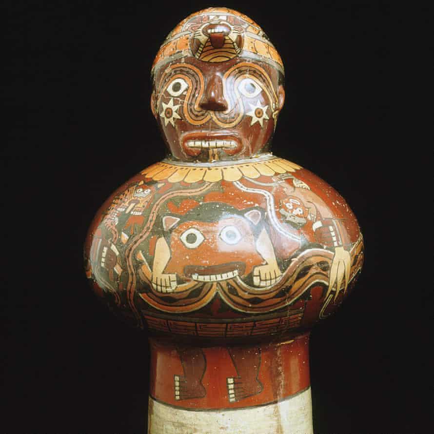 Ceremonial drum with painted creatures, Nazca culture, Peru, AD500.