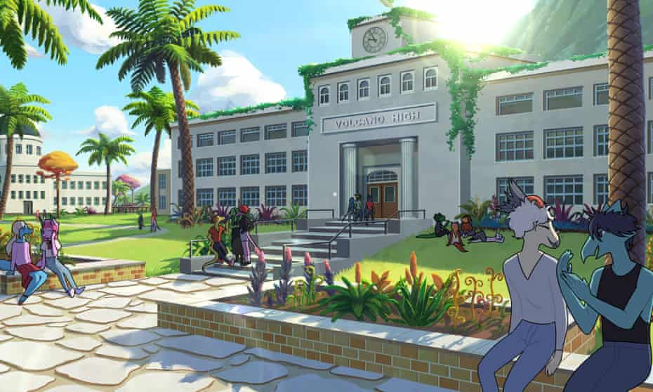 Don't be fooled by the dinosaurs … Goodbye Volcano High is modern.