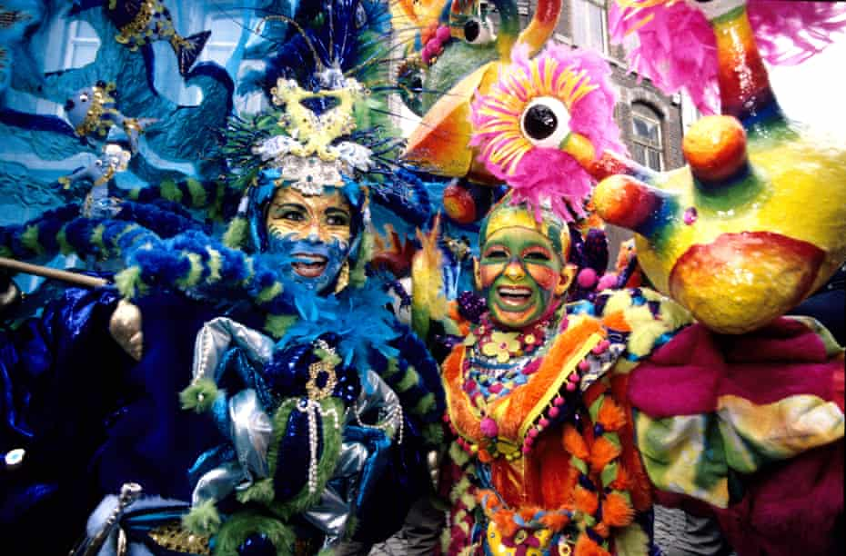 Close up of two young women celebrating carnival in Maastricht, Netherlands.