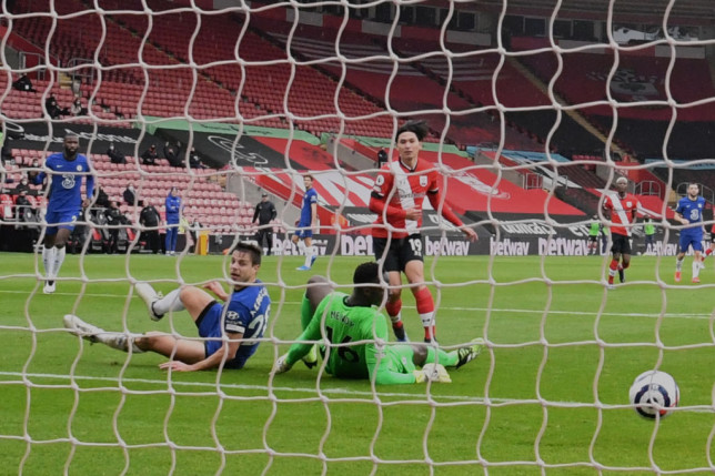 Takumi Minamino opens the scoring in Southampton's draw with Chelsea in the Premier League