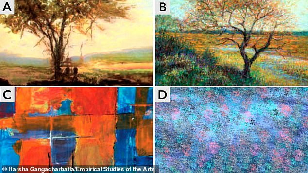 Can you tell the difference between a human-made and an AI-made artwork? There are six paintings included from the research paper, labelled A to F (E and F are below).Find out the answers at the bottom of this article