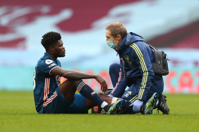 Partey was forced off against Villa