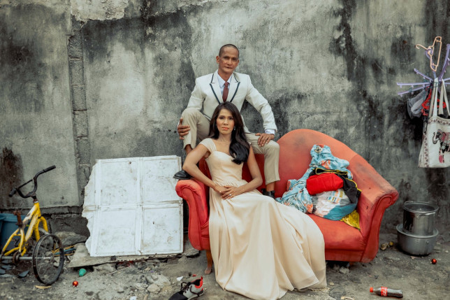 A homeless couple were transformed with a surprise makeover for a glamorous wedding shoot