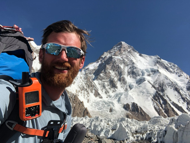 British climber Jake Meyer on his way to climbing K2, the world?s second-highest mountain. Used for Metro newspaper feature 01/02/2021