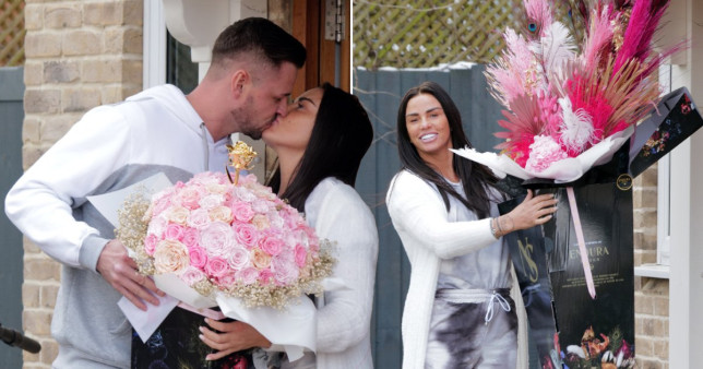 Katie Price and Carl Woods kiss at home on Valentine's Day