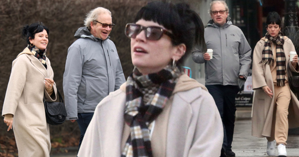 Lily Allen and Harry Enfield walking in Primrose Hill