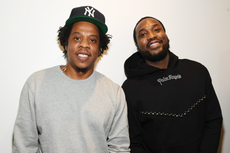 "NEW YORK, NY - JANUARY 23: Shawn ""Jay-Z"" Carter (L) and Meek Mill attend the launch of The Reform Alliance at John Jay College on January 23, 2019 in New York City. (Photo by Kevin Mazur/Getty Images for The Reform Alliance)"