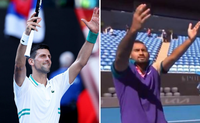 Nick Kyrgios mocked Novak Djokovic's celebration before his Australian Open doubles match.