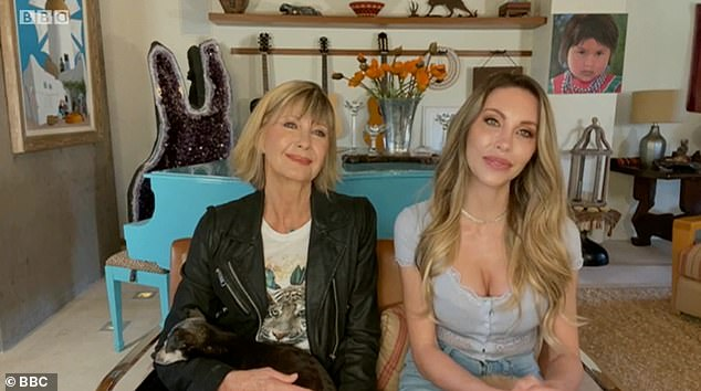 Olivia Newton-John appeared on The One Show on Tuesday - where she assured fans one again how healthy she is feeling, despite her stage 4 metastatic breast cancer [appearing alongside her daughter Chloe Lattanzi]