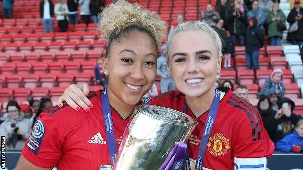 Lauren James and Alex Greenwood with the FA Women's Championship trophy in 2019