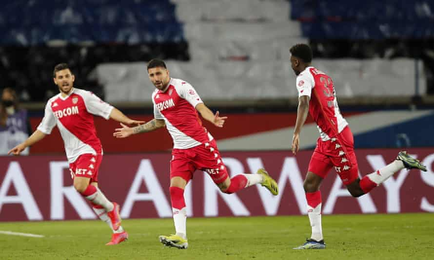 Guillermo Maripan celebrates after scoring in Monaco's 2-0 win against PSG.