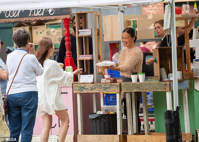 All smiles: On Sunday, the former MasterChef star appeared to be in good spirits as she was spotted at her Jamface market stall in Adelaide for the first time since announcing the news
