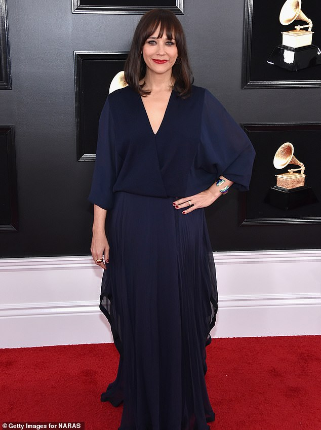 Opening up: Rashida Jones, shown in February 2019 in Los Angeles, has opened up about filming her latest movie after losing her mother Peggy Lipton to cancer while become a first-time mother herself