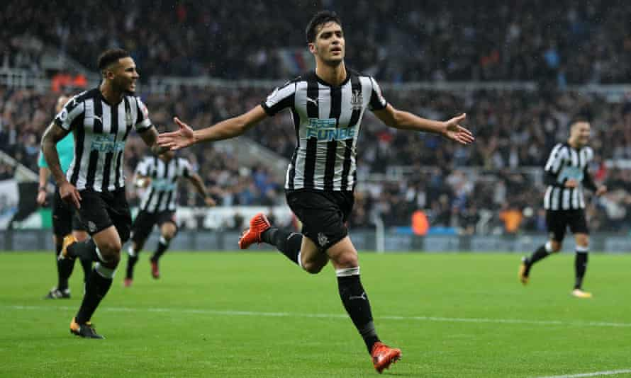 Mikel Merino celebrates after scoring for Newcastle against Crystal Palace in October 2017.
