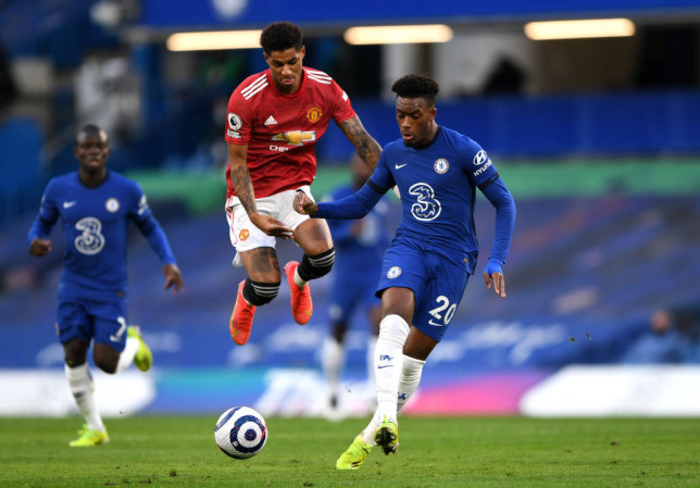 Callum Hudson-Odoi passes the ball during Chelsea's Premier League clash with Manchester United