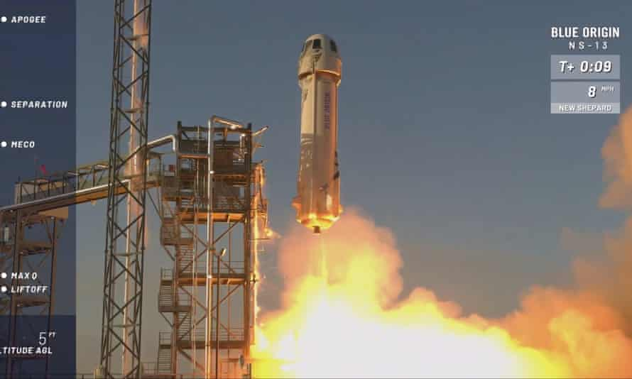 A Blue Origin rocket lifts off from its launchpad in Texas.