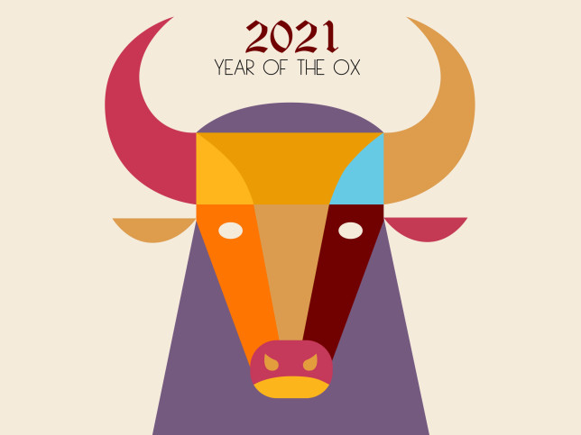 chinese zodiac-ox, year of the ox, 2021 happy chinese new year concept flat design illustration