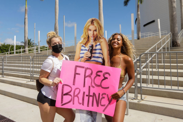#FreeBritney protestors with cut out of Britney Spears