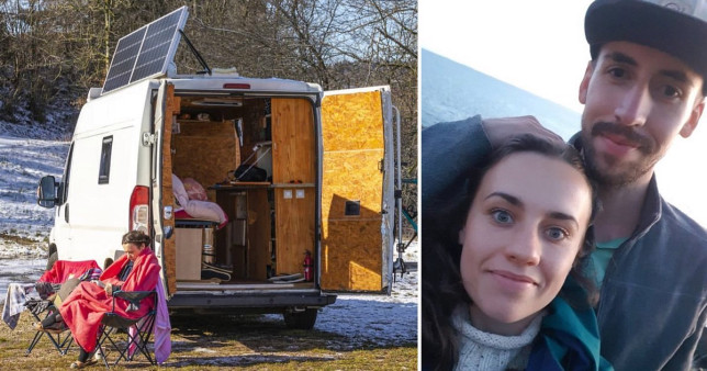 Rachel with Florian and the van they now live in