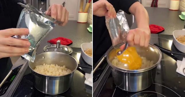 woman on tiktok sharing sauce packet hack