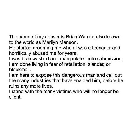 Words: Evan released this statement on Instagram on Monday with fans expressing their support -Manson's reps have 'categorically denied' similar accusations in the past