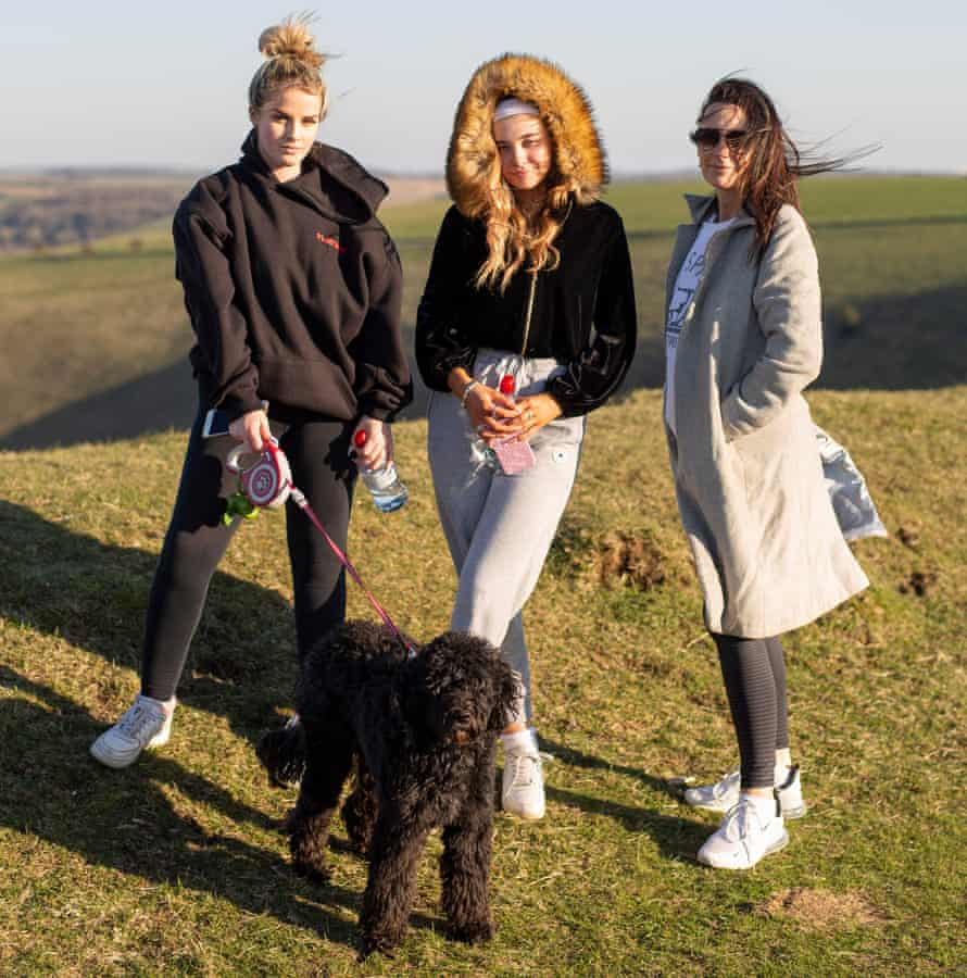 Tara walking with daughter Livvy (centre) and friend Hannah (both 18), on Wolstonbury Hill, South Downs