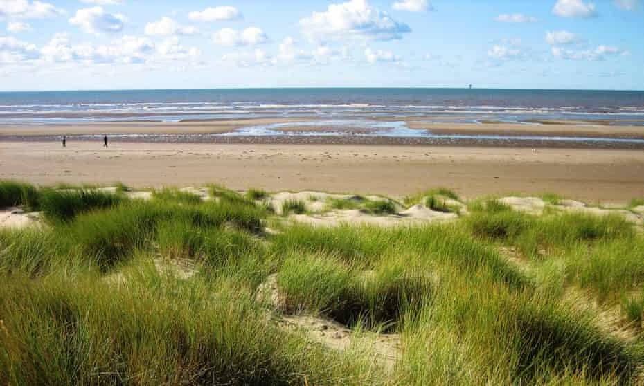 Sefton coast dunes, marram grass and beach beyond