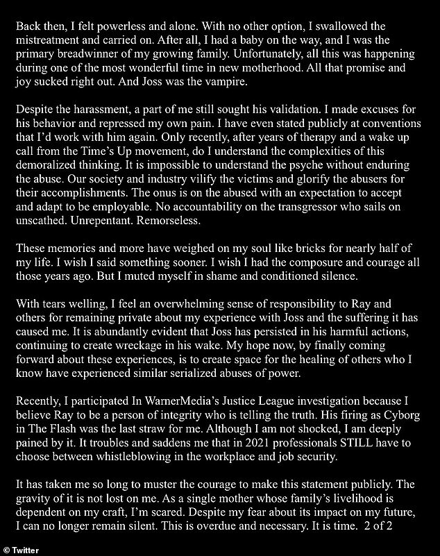Carpenter last week shared a two-page account of her own working experience with Whedon