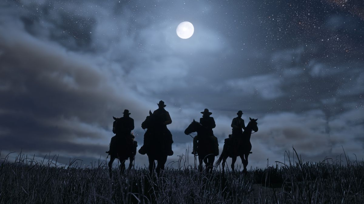 Red Dead Redemption 2 - posse of four on horseback silhouetted under a full moon