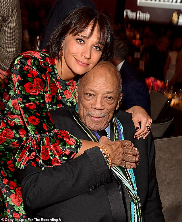 Sage advice: 'As my dad always says, ''Live every day like it's your last, and one day you'll be right,' Jones said, referencing her famous music producer father Quincy Jones, 87, shown together in January 2020 in Beverly Hills, California