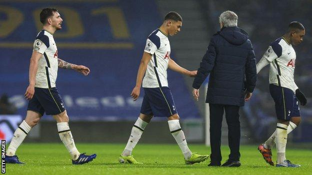 Tottenham players look dejected at full-time