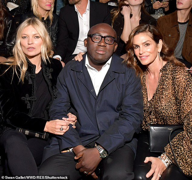 Honest: Looking back, Cindy said she was frustrated by Kate because she 'was never one of the people who could eat what I wanted'(pictured together with Edward Enninful in 2018)