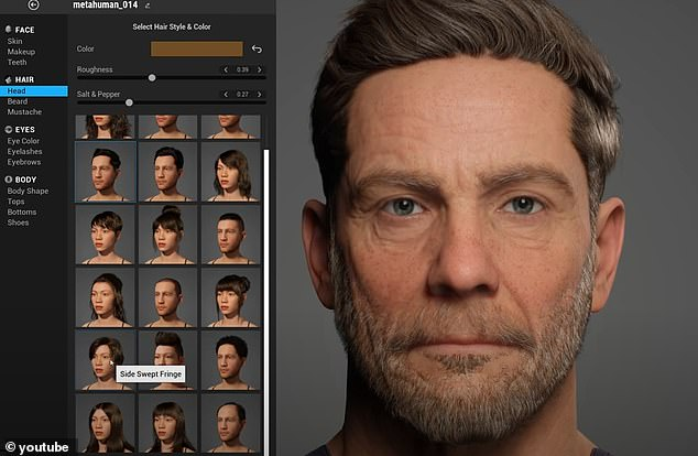 The systems lets users choose from a library of presets including 30 hairstyles and 18 different body types. Epic says that 'when you are happy with your human,' you can download the digital creation to use in films, video games and a variety of apps