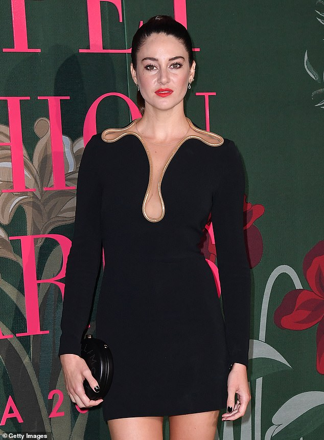 Hard at work: Shailene and Aaron have been in a long distance relationship, with the actress Woodley filming the serial killer thriller Misanthrope in Montreal, Canada; Shailene pictured in 2019
