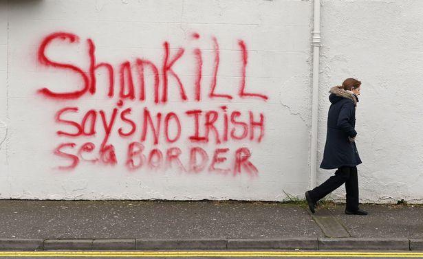 Loyalist graffiti in Belfast amid rising tensions over Brexit