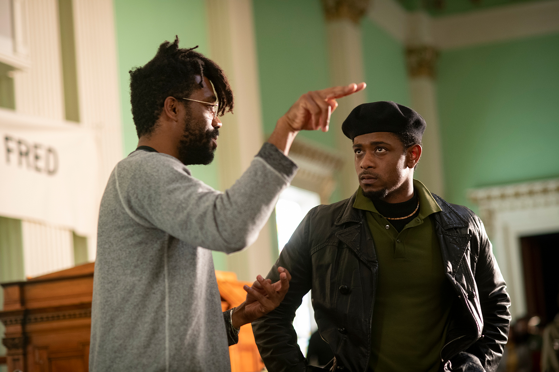 """Director Shaka King and Lakeith Stanfield on the set of """"Judas and the Black Messiah."""""""