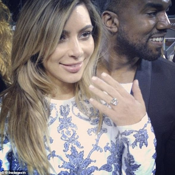 October 2013 Kanye proposed to Kim at a baseball park in San Francisco with a large diamond ring