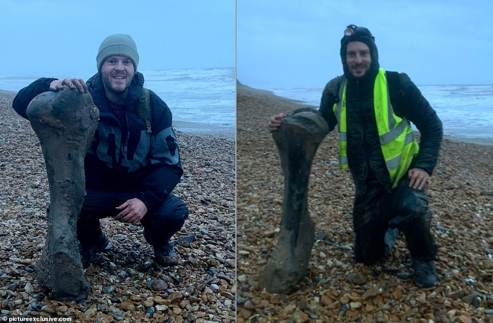 Joe (left) and Luke (right) found the potentially 125,000 year-old bone sticking out of shingle and snapped photos before taking it home
