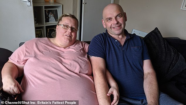 Keith, who works in a bakers, say's he's Samantha's carer, housewife, family man - and even has to help her with her personal care. Pictured, Samantha at over 30 stone