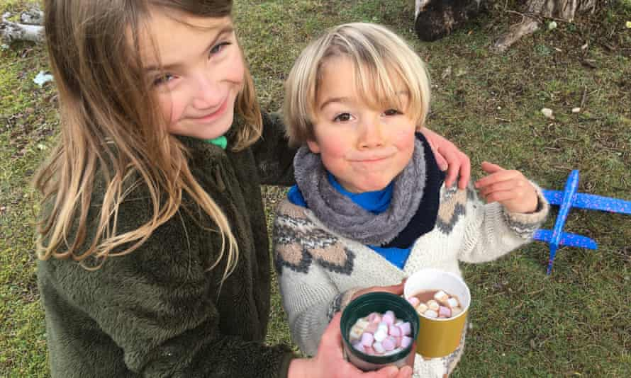 The author's children enjoy hot chocolate with marshmallows