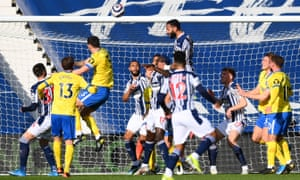 Kyle Bartley of West Bromwich Albion scores his team's first goal.