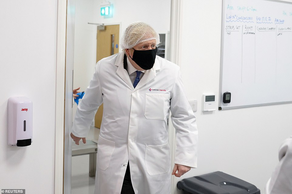 During a visit to a coronavirus test manufacturing facility in Derby, Boris Johnson also insisted the vaccine should still stop prevent the majority of severe cases caused by the South African variant, which would ease pressure on the NHS when lockdown restrictions are eventually lifted and save tens of thousands of lives