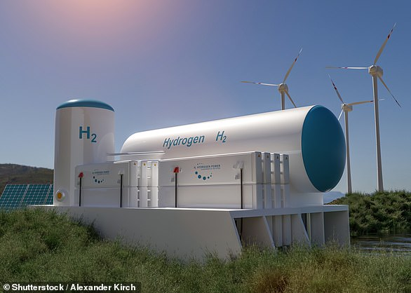 Pictured, an artist's impression of a future blue hydrogen production facility