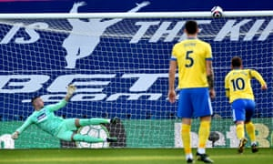 Pascal Gross (not pictured) of Brighton misses a penalty .